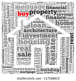 Buy info-text graphics and arrangement concept on white background (word cloud)
