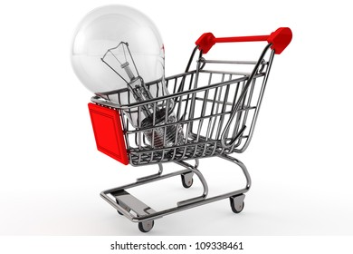 Buy the Light concept. Shopping Cart with Bulb on a white background