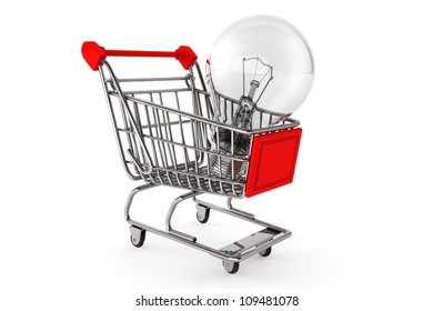 Buy the Light concept. Shopping Cart with Bulbon a white background