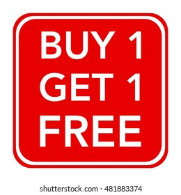 Buy one get one free, promotional sale label for business