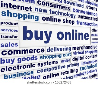 Buy online business poster. New internet technologies conceptual design
