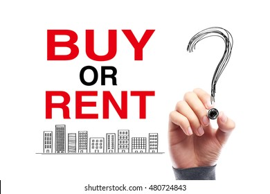 Buy Or Rent with a big question mark drawn by the hand with black mark.