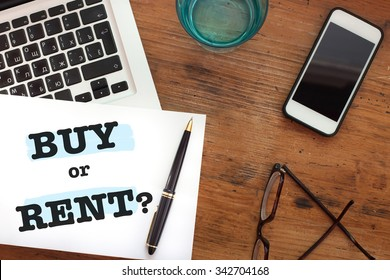 buy or rent choice concept, question, real estate business