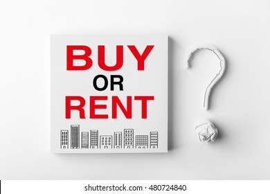 Buy Or Rent on the note with paper question mark aside.