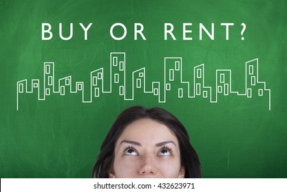 Buy or rent property concept