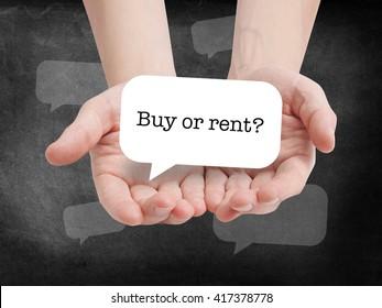 Buy or rent written on a speechbubble
