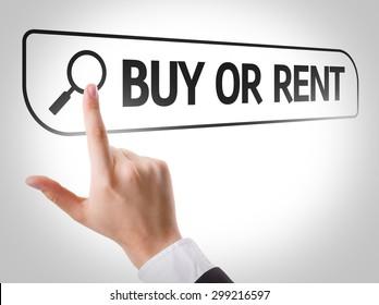 Buy or Rent written in search bar on virtual screen
