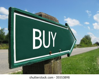 BUY road sign