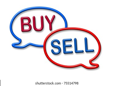 Buy and sell stocks symbol represented by two word bubbles isolated on white.