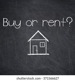 BUY OR RENT? - text written on a chalkboard. Real Estate concept