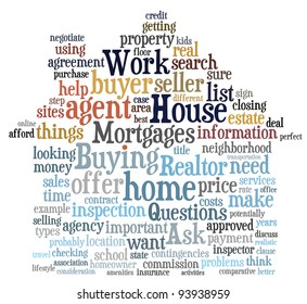 Buying home issues info-text (cloud word) composed in the shape of a house on white background