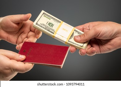 Buying illegal passport hands exchanging money and documents