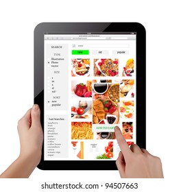 buying pictures on photostock with tablet pc