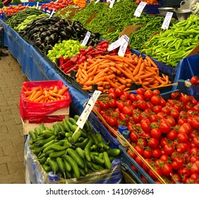 Buying vegetables in the central market of Canakkale, Turkey