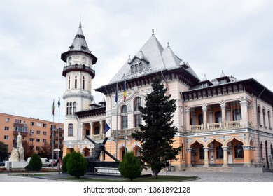 Buzau City Hall. The Communal Palace (Palatul Comunal) in Dacia Square (Piata Daciei). Buzau, Romania.