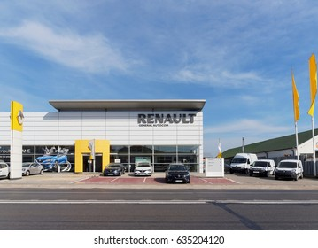 BUZAU, ROMANIA - APRIL 30, 2017.  Renault dealer showroom in Buzau, Romania. Groupe Renault is a French multinational automobile manufacturer established in 1899.