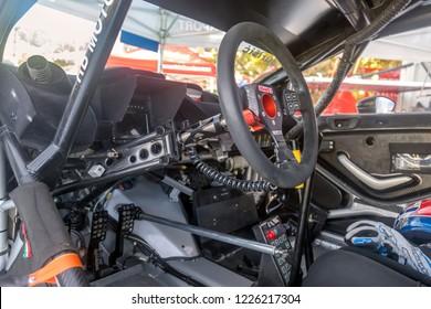 BUZET, CROATIA - SEPTEMBER 16, 2018: Cockpit of a sport racing car on European Hill Climb Championship in Buzet, Croatia.