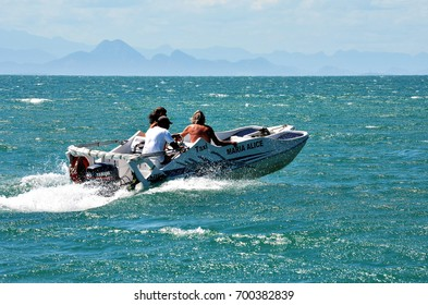 BUZIOS, BRAZIL - February 24, 2013: Tourists in water taxi in the resort of Buzios. Means of transportation very used to reach the various beaches of the region.