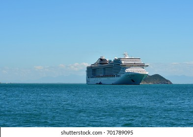 Buzios, Brazil, February 24, 2013: Transatlantic MSC Fantasia anchored. Every year the city receives thousands of tourist during the cruise season in Brazil.