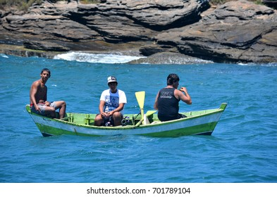 Buzios, Brazil, February 24, 2013: Artisanal fishing in the calm and warm waters of the resort of Búzios