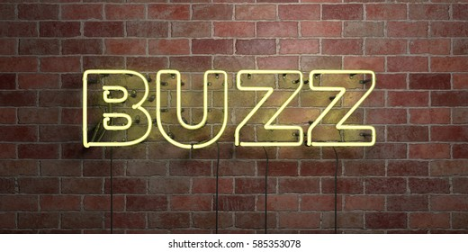 BUZZ - fluorescent Neon tube Sign on brickwork - Front view - 3D rendered royalty free stock picture. Can be used for online banner ads and direct mailers.