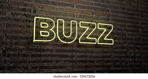 BUZZ -Realistic Neon Sign on Brick Wall background - 3D rendered royalty free stock image. Can be used for online banner ads and direct mailers.