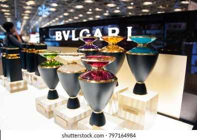 Bvlgari perfume rack. Airport duty free shop. Image from within the store. Sabiha Gokcen Airport. Pendik. Istanbul. Turkey. December 2017.
