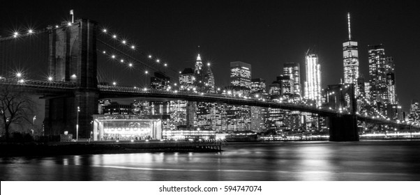 B&W Brooklyn Bridge, New York, USA