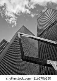 B&W cityscape of skyscrapers in NY, USA