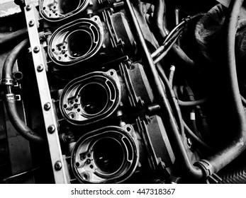 BW Closeup carburetor machine in sports bike