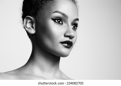 bw closeup portrait of a beauty latin woman with a bright makeup