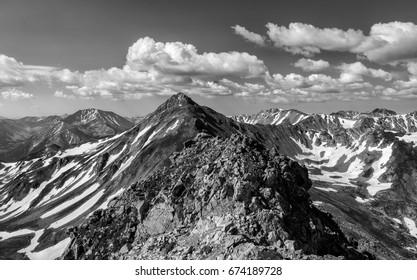 B&W - Colorado Rocky Mountains.  Vast vistas of the Sawatch Range in central Colorado