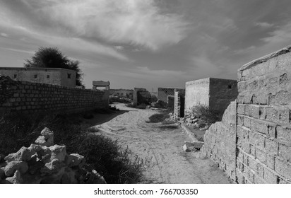 B&W colored ghost city Al Jazirah Al Hamra. Ras al-Khaimah. The oldest town in United Arab Emirates. Arabian peninsula