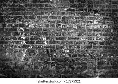 B&w destroyed brick wall