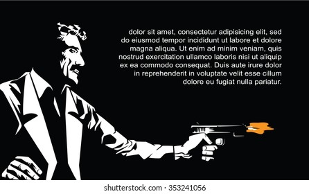 BW Illustration. Template flyers. Sin City party. A man with a gun.