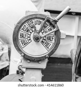 B/W image of a  engine room telegraph,  old steamship