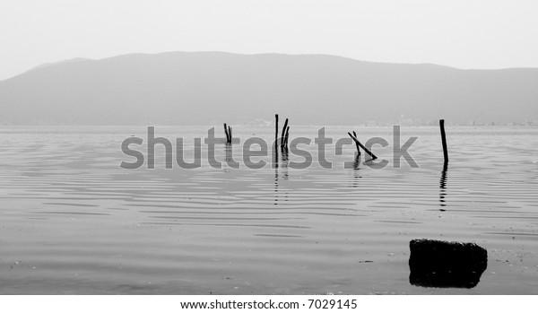 BW landscape photo of lake Prespa