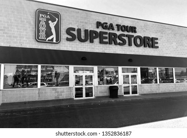 B&W PGA tour retail golf superstore entrance, Peabody Massachusetts USA, March 25, 2019