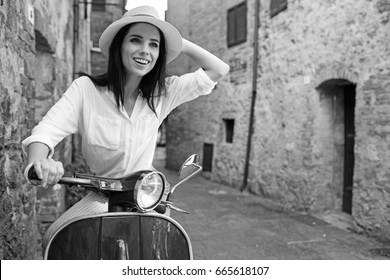 BW photography of a beautiful tourist woman. Italian holiday concept