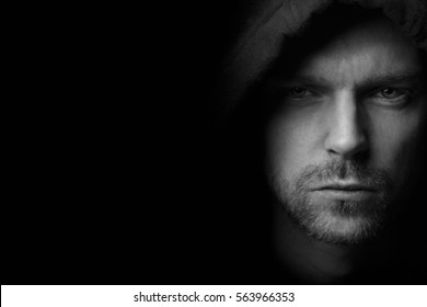 B/W portrait of mysterious man