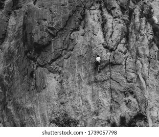 B&W Rock Climber on the face of one of the most popular climbing routes in The Garden of the Gods State Park.