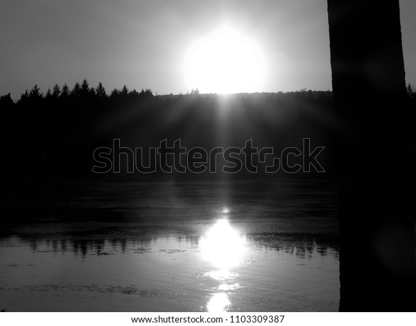 B&W Sunset at the Lake