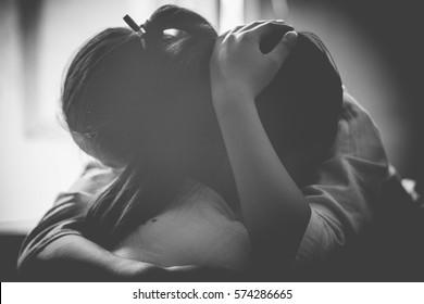 B&W Women hugging,Concept of best friends,Select Focus.