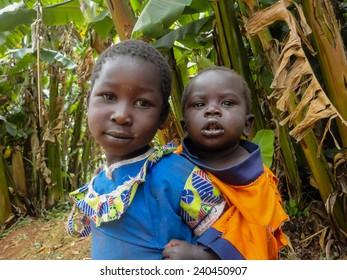 BWAYI, KENYA - FEBRUARY 11, 2014: Unidentified childrens at Bwayi, Kenya. Bwayi is Bwayi, a rural farming village outside of Kitale, Kenya.