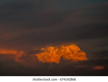 By the evening sun illuminated cumulonimbus over the city of Erlangen in Bavaria in Germany