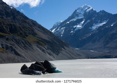 By the Hooker Lake, looking at the Mt. Cook at the Hooker Valley Track in the Aoraki / Mt. Cook National Park in New Zealand