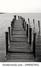 By the sea, beautiful view of a wooden pier, black and white photography. Wooden pier leading to the sea ocean or lake,boardwalk. Neusiedler See, Burgenland, Austria.