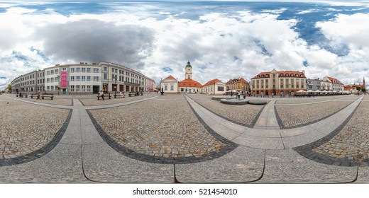 BYALYSTOK, POLAND - January 6, 2014: Full 360 equirectangular spherical panorama in street of the old town