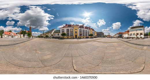 BYALYSTOK, POLAND - JULY, 2019: Full seamless spherical hdri panorama 360 degrees angle view in medieval pedestrian street place of old town in equirectangular  projection. Skybox for VR AR content