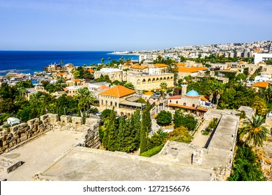 Byblos Crusaders Citadel Courtyard Ruins with Cityscape and Sea View